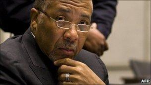 Former Liberian President Charles Taylor in court on 8 February 2011