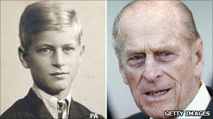 Prince Philip as a young boy and pictured in February 2010