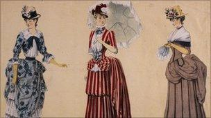 Women wearing bustles