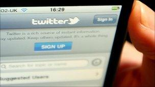 Twitter on a mobile phone