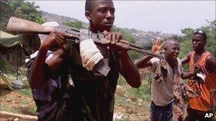 RUF rebels photographed in Sierra Leone on 08/05/2000