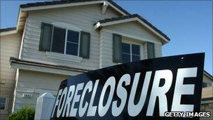 A foreclosure sign outside a home in Stockton, California
