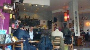Internet cafe in Damascus, Syria