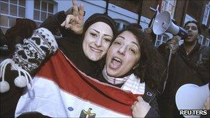Egyptians celebrate outside their embassy in London