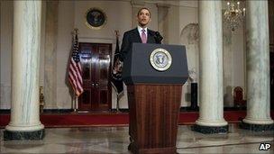 President Barack Obama makes a statement on the resignation of Egypt's President Hosni Mubarak in the Grand Foyer at the White House in Washington, 11 February 2011.