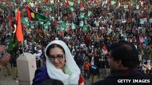 Benazir Bhutto at a campaign rally in Rawalpindi - minutes before her assassination. Photo: 27 December 2007
