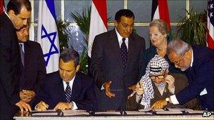 Saeb Erekat (far right) with Yasser Arafat at a signing ceremony with Israeli PM Ehud Barak, 1999