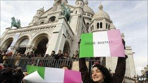 Anti-Berlusconi protest at the Sacre Coeur in Paris, France (13 Feb 2011)