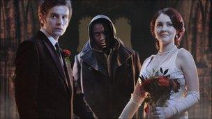 Andrew Gower, David Harewood and Lacey Turner in Frankenstein's Wedding... Live in Leeds