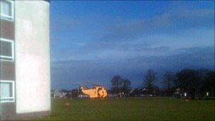 Camera phone image of RAF helicopter at Raigmore hospital