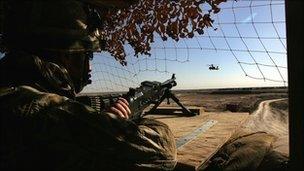 British soldier mans machine gun in Afghanistan