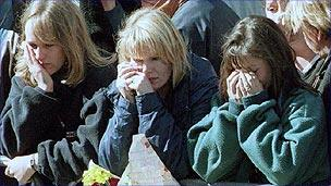 Mourners at Diana's funeral