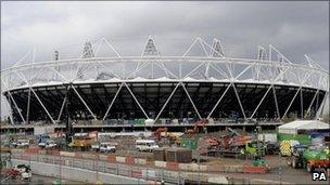 Work is nearing completion on the 2012 Olympic stadium