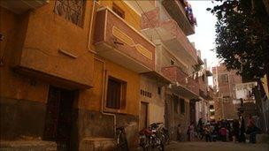 The street where Hosni Mubarak was born in Kafr el-Meselha, Egypt
