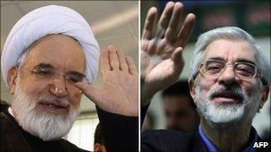 Mir Hossein Mousavi (right) and Mehdi Karroubi, file pics