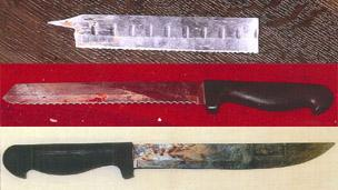 Knives used by Steven McKee to attack his ex-fiancee