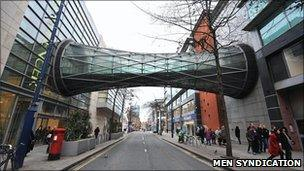 Pedestrian bridge over Corporation Street in Manchester