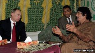 President Vladimir Putin of Russia meets Libyan leader Muammar Gaddafi in Tripoli, 16 April 2008