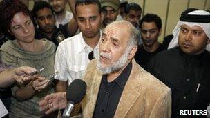 Bahraini Shia opposition leader Hassan Mushaima at Bahrain International Airport in Manama, 26 February 2011