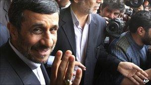 Iranian President Mahmoud Ahmadinejad in Tehran, 20 Feb
