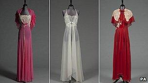 A pink chiffon nightdress and matching capelet, an ivory chiffon nightdress and a scarlet chiffon nightdress with capelet and full length cape.
