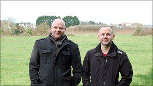 Jon and Paul Stephen in a field in St Sampson, Guernsey