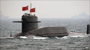 File image of a Chinese submarine, on 23 April 2009