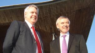 Carwyn Jones and Ieuan Evans outside the Senedd
