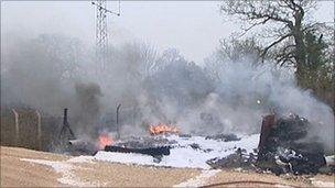 Tyre fire at Marr