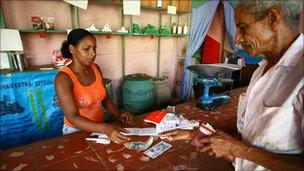 Shopping at state owned co-operative in Trinidad, Cuba