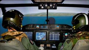 Pilots in helicopter