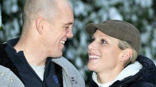 Mike Tindall and Zara Phillips pose at their Gloucestershire home after announcing their engagement