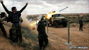 Libyan rebel soldiers near Ras Lanuf, 9 March