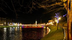 Inverness lit up at night