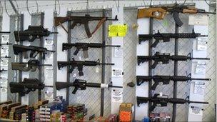 Weapons on sale in a shop in Houston
