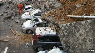 Cars crushed during Japan earthquake