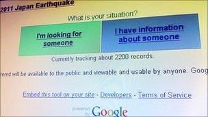 Japan person finder, Google