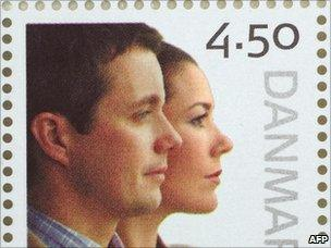 Danish postage stamp showing Crown Prince Frederik and Crown Princess - file pic