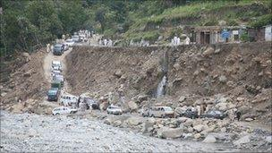 Picture shows the remains of a road destroyed by flooding in the Swat valley in the Khyber Pakhtunkhwa Province of Pakistan - 2010