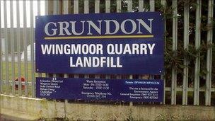 Wingmoor landfill sign