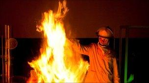 Scientist and fire