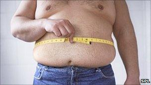Obese man measuring his waist