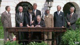 Warren Christopher (second from right) watches as Israeli Foreign Minister Shimon Peres (C) signs agreement on Palestinian autonomy in the occupied territories at the White House in Washington on September 13, 1993