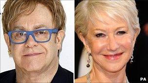 Sir Elton John and Dame Helen Mirren