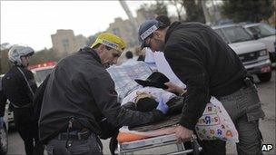 Police take away casualty in Jerusalem