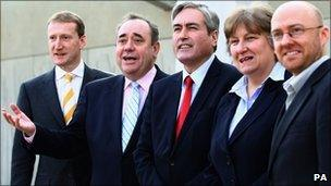 Tavish Scott, Alex Salmond, Iain Gray, Annabel Goldie and Patrick Harvie
