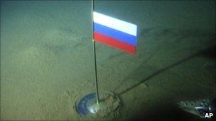 Russian flag planted on the Arctic Sea bed at the North Pole
