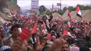 Anti-government protesters in the Yemeni capital Sanaa, 25 March