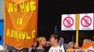 Protesters outside the exhibition in Abermule