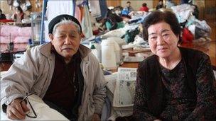 Katsuko (R) and her husband Kisaburo